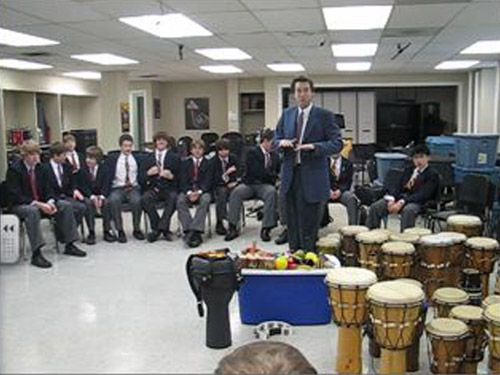 Don Finlay's Grade 9 band class at St. Andrew's College school won the first ever Breezin' Thru Theory drill contest, by being the first school to complete 10 drills with all students scoring over 80%. Their prize was an amazing Hand Drumming clinic. Their newfound knowledge of Rhythm was put to great use!
